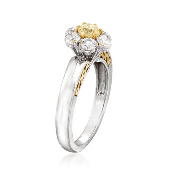 C. 1990 Vintage 1.25 ct. t.w. Yellow and White Diamond Flower Ring in 18kt Two-Tone Gold. Size 7, , default