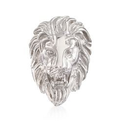 Italian Sterling Silver Lion Head Ring, , default