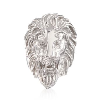 Italian Sterling Silver Lion Head Ring, , default