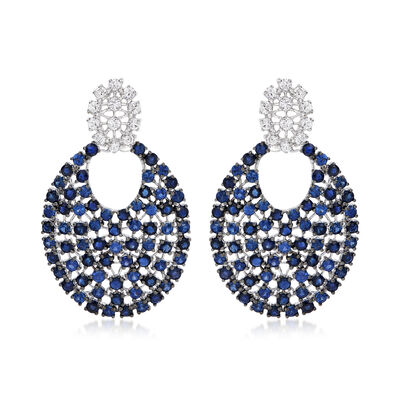 7.50 ct. t.w. Sapphire and .96 ct. t.w. Diamond Drop Earrings in 18kt White Gold, , default