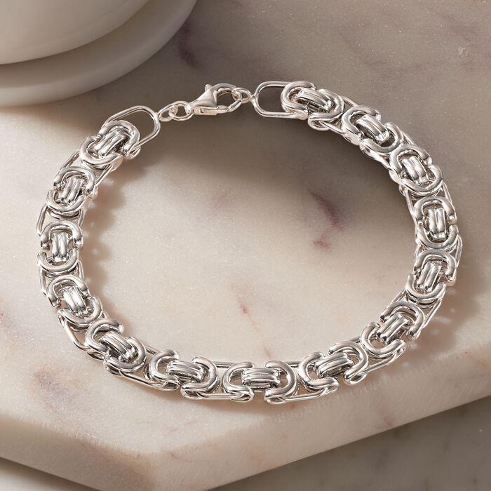 Men's Sterling Silver Byzantine Box Link Bracelet
