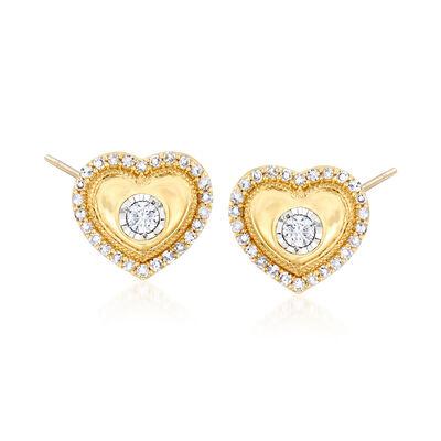 .32 ct. t.w. Diamond Heart Earrings in 14kt Yellow Gold