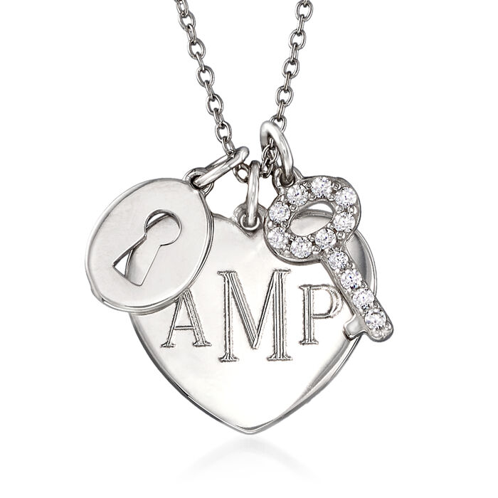 .30 ct. t.w. CZ Personalized Lock and Key Heart Pendant Necklace in Sterling Silver