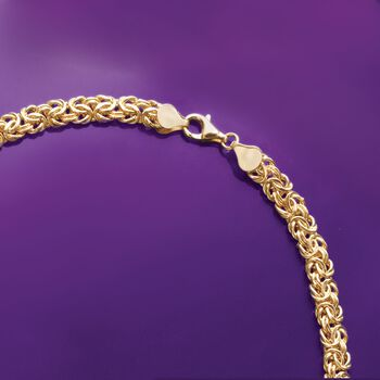 Italian 18kt Yellow Gold Graduated Byzantine Necklace, , default