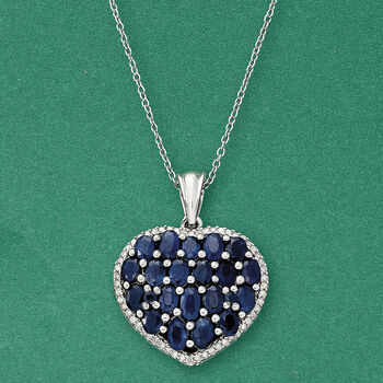 3.80 ct. t.w. Sapphire and .33 ct. t.w. Diamond Heart Pendant Necklace in Sterling Silver, , default