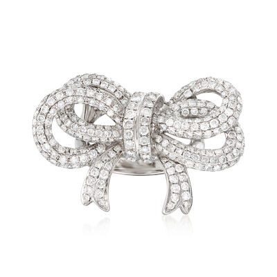 3.00 ct. t.w. Pave Diamond Bow Ring in 18kt White Gold