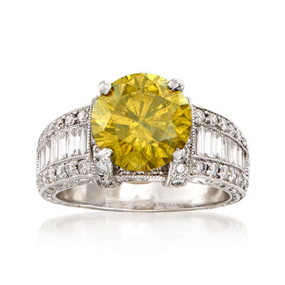 C. 2000 Vintage 4.38 ct. t.w. Certified Yellow and White Diamond Ring in 18kt White Gold