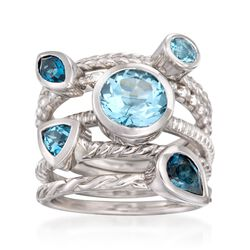 3.10 ct. t.w. Tonal Blue Topaz Jewelry Set: Five Rings in Sterling Silver, , default