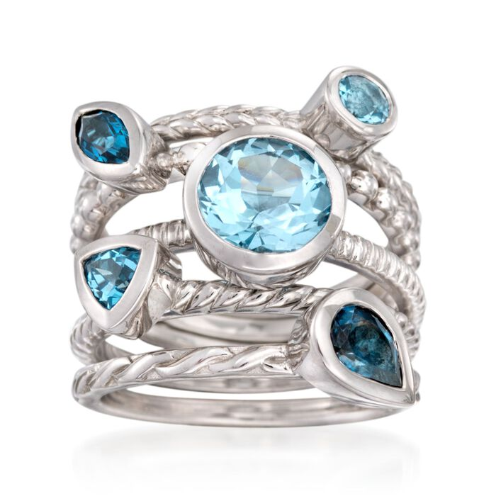 3.10 ct. t.w. Tonal Blue Topaz Jewelry Set: Five Rings in Sterling Silver, , default