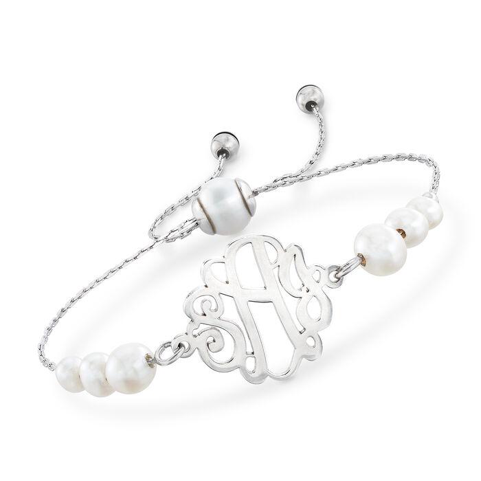 Cultured Pearl Monogram Bolo Bracelet in Sterling Silver, , default