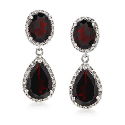 8.00 ct. t.w. Garnet and .14 ct. t.w. Diamond Drop Earrings in Sterling Silver