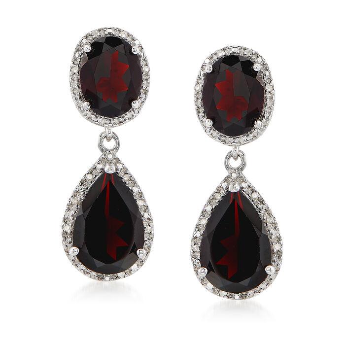 8.00 ct. t.w. Garnet and .14 ct. t.w. Diamond Drop Earrings in Sterling Silver
