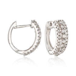 .50 ct. t.w. Diamond Triple-Row Hoop Earrings in 14kt White Gold   , , default