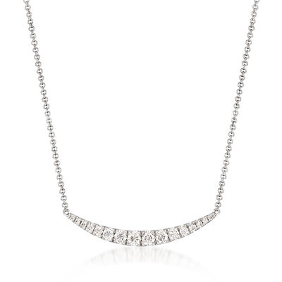 Gabriel Designs .49 ct. t.w. Diamond Curve Bar Necklace in 14kt White Gold, , default