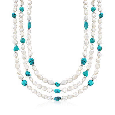 7.5-8.5mm Cultured Pearl and 7-9mm Turquoise Bead Endless Necklace with Sterling Silver Shortener, , default