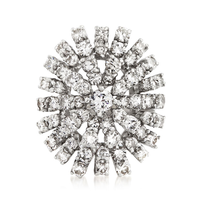C. 1970 Vintage 2.35 ct. t.w. Diamond Cluster Ring in 18kt White Gold. Size 6.5, , default