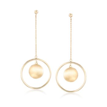 14kt Yellow Gold Circle Drop Earrings, , default