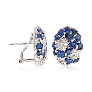 C. 1990 Vintage 16.40 ct. t.w. Sapphire and .30 ct. t.w. Diamond Earrings in 18kt White Gold, , default
