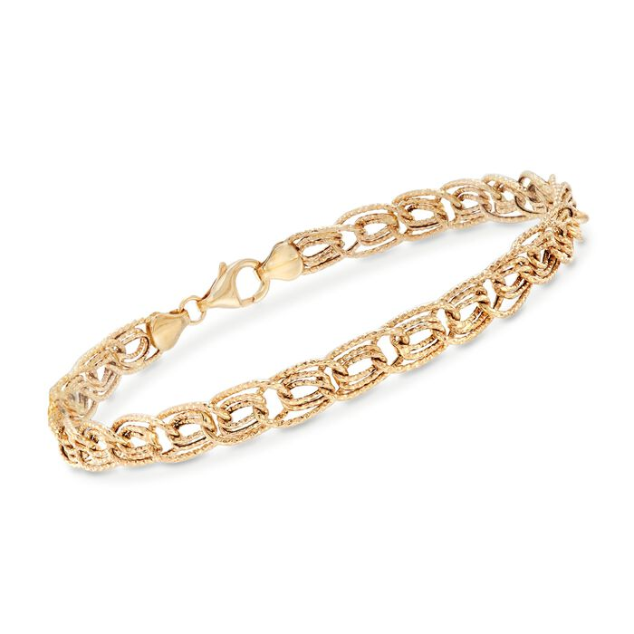 14kt Yellow Gold Textured Triple Curb-Link Bracelet, , default