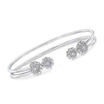 ".50 ct. t.w. Diamond Rose Cuff Bracelet in 14kt White Gold. 7.5"", , default"