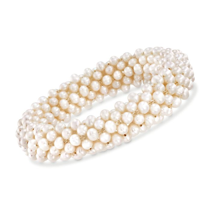 4-4.5mm Cultured Pearl Stretch Cluster Bracelet