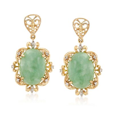 Green Jade Drop Earrings with Diamond Accents in 14kt Yellow Gold, , default