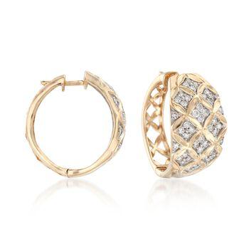 ".50 ct. t.w. Diamond Floral Lattice Hoop Earrings in 14kt Yellow Gold. 5/8"", , default"