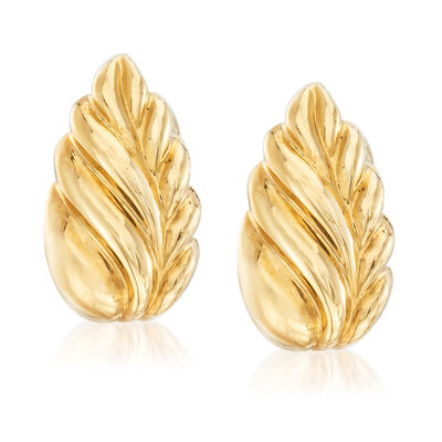 C. 1980 Vintage Tiffany Jewelry 18kt Yellow Gold Clip-On Leaf Earrings, , default
