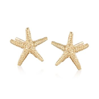 14kt Yellow Gold Starfish Stud Earrings, , default
