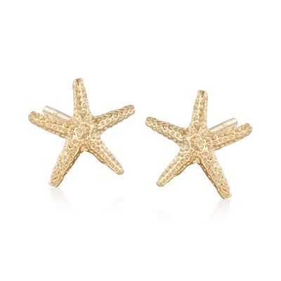14kt Yellow Gold Starfish Stud Earrings, , default