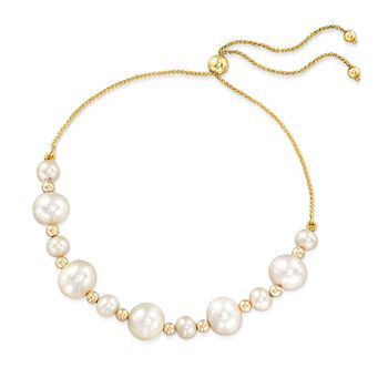 5-9mm Cultured Pearl and 14kt Yellow Gold Bead Bolo Bracelet