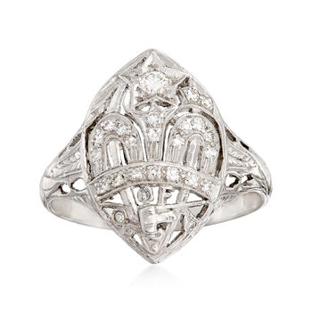 C. 1950 Vintage .35 ct. t.w. Diamond Navette Ring in Platinum and 14kt White Gold. Size 9.5, , default