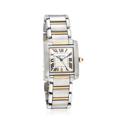 Pre-Owned Tank Francaise Cartier Women's 28x34mm Stainless Steel and 18kt Yellow Gold Watch