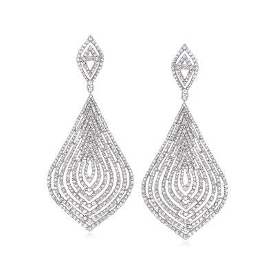 3.00 ct. t.w. Diamond Teardrop Earrings in Sterling Silver