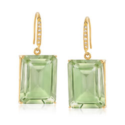 35.00 ct. t.w. Emerald-Cut Green Prasiolite and .10 ct. t.w. Diamond Earrings in 18kt Gold Over Sterling, , default
