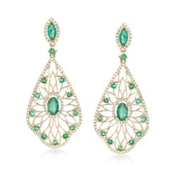 1.78 ct. t.w. Emerald and .58 ct. t.w. Diamond Openwork Earrings in 14kt Yellow Gold, , default