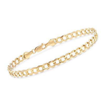 Men's 5.7mm 14kt Yellow Gold Faceted Curb-Link Chain Bracelet, , default