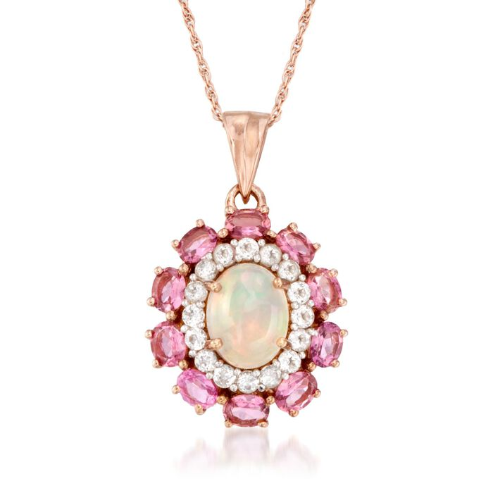 Opal and 2.50 ct. t.w. Pink Tourmaline Pendant Necklace with White Topaz in 14kt Rose Gold Over Sterling
