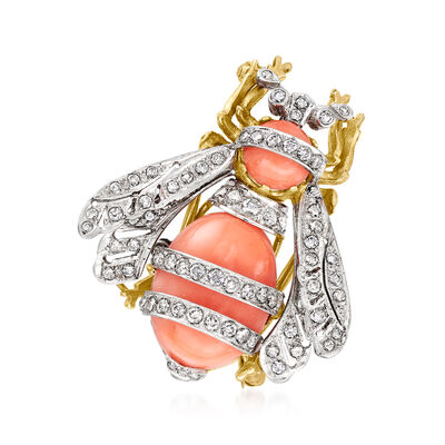 C. 1950 Vintage Pink Coral and 2.00 ct. t.w. Diamond Bumblebee Pin in 14kt Two-Tone Gold