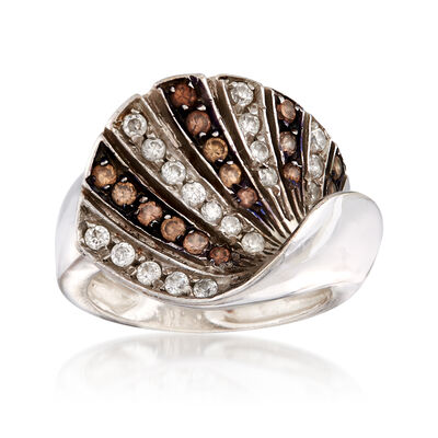 C. 1990 Vintage .40 ct. t.w. Brown Quartz and .50 ct. t.w. Rock Crystal Fan Ring in 18kt White Gold, , default