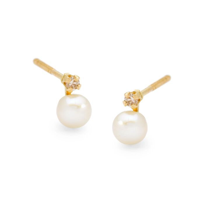 Child's 4mm Cultured Pearl Earrings with Diamond Accents in 14kt Yellow Gold, , default