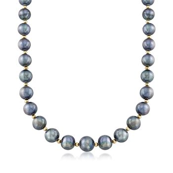 "12-15mm Black Cultured Pearl Necklace With 14kt Yellow Gold. 18"", , default"