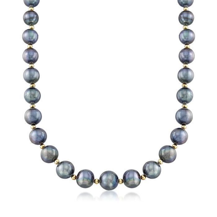 """12-15mm Black Cultured Pearl Necklace with 14kt Yellow Gold. 18"""", , default"""