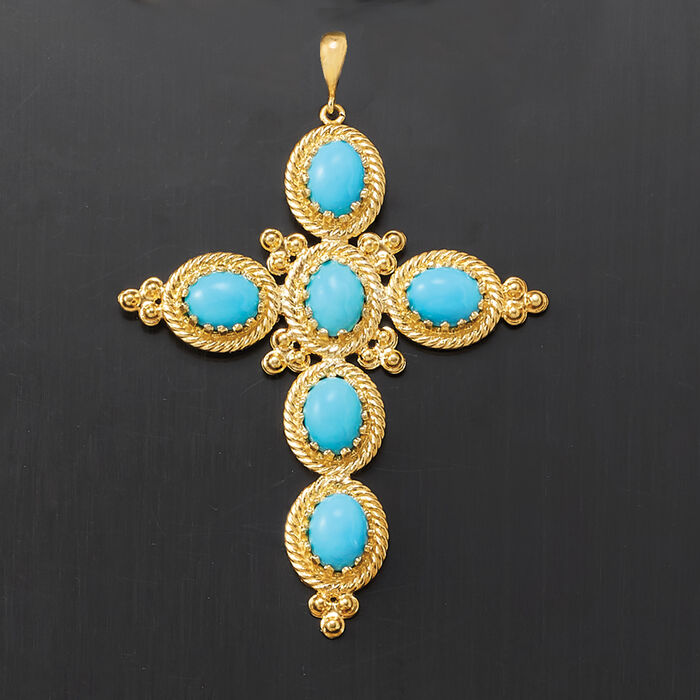 Italian Turquoise Cross Pendant in 18kt Gold Over Sterling