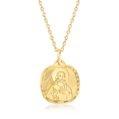 Italian 18kt Yellow Gold Sacred Heart Pendant Necklace