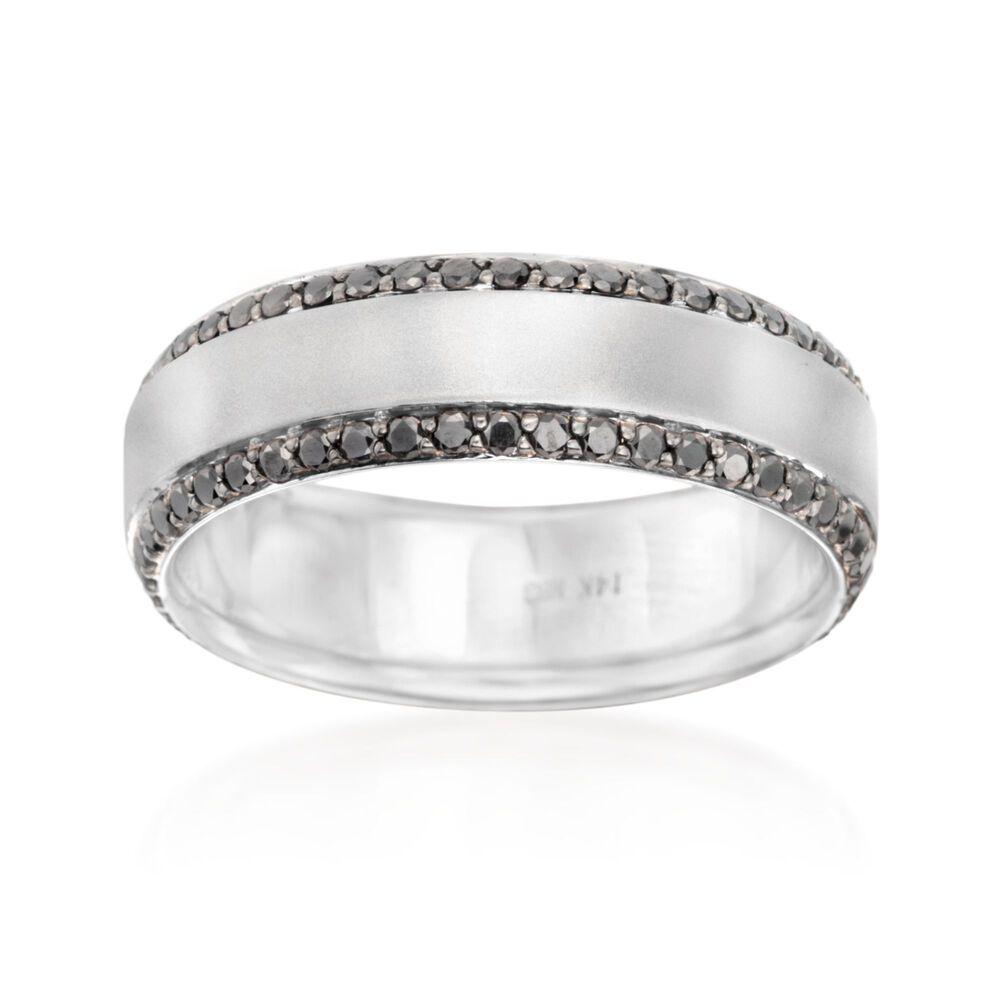 Henri Daussi Men S 95 Ct T W Black Diamond Wedding Ring In 14kt White Gold Size 10 Ross Simons