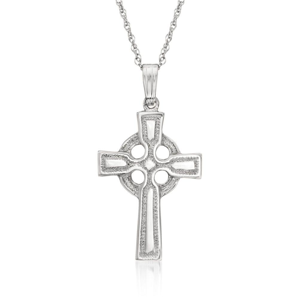 Sterling silver celtic cross pendant necklace 18 ross simons sterling silver celtic cross pendant necklace 18quot default aloadofball Image collections