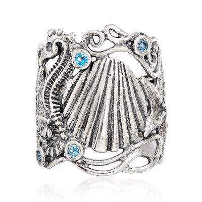 .85 ct. t.w. Blue Topaz Sea Life Ring in Sterling Silver