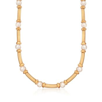 "C. 1990 Vintage Turi Designs 6.5-7mm Cultured Pearl Necklace in 18kt Yellow Gold. 16"", , default"