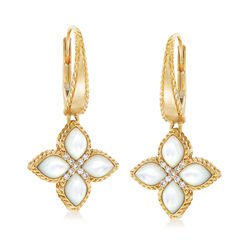 "Roberto Coin ""Venetian Princess"" Mother-Of-Pearl Drop Earrings With Diamond Accents in 18kt Gold, , default"